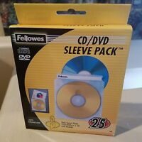Fellowes CD/DVD Sleeve Pack Media Storage #25 Double Sided Sleeves