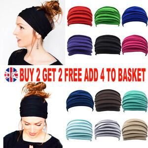 Women Yoga Wide Headband Ladies Elastic Fold Hair Band Sports Turban Head Wrap