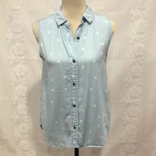 Beach lunch lounge Blue Chambray Button Up Sleeveless Shirt Small