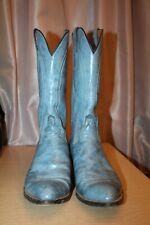 LUCCHESE Western Wear Cowboy Boots Blue Leather Men's US 9D 2L611 68270 Vintage