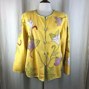 Indigo Moon Yellow Embroidered Flower Floral Artsy Jacket Large