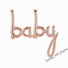 "BABY FOIL BALLOON SCRIPT ROSE GOLD BABY SHOWER PARTY 46"" HANGING BANNER DECORA"
