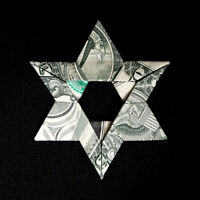 Money Dollar Origami Jewish STAR of DAVID Charm Amulet Real $1 Bill Hebrew Gift