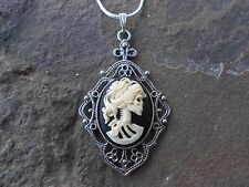SKELETON LADY (GOTH) CAMEO PENDANT NECKLACE!!! .925 SILV. PLATED!! HALLOWEEN!!!!