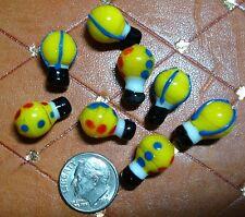 8 Hot air balloon glass lampwork beads handmade yellow balloon beads gbs006