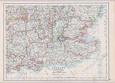 1931 MAP ~ ENGLAND SOUTH-EAST ~ KENT ESSEX LONDON OXFORD HERTFORD SUFFOLK SURREY