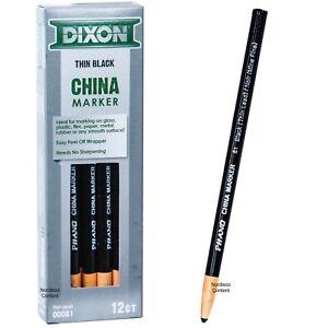 Dixon Phano China Markers Black Thin Lead 81 00081, Box of 12