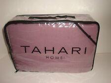 Tahari Full Queen Duvet Cover Shams Ruffle Crochet Lace Purple Plum Linen Cotton