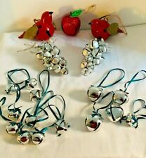 Christmas Tree Decorations x 19 Red Metal Birds & Silver Bells Exc Condition