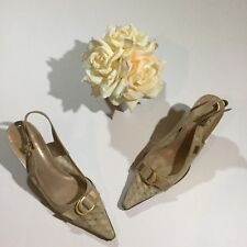 Stuart Weitzman Women's Size 7 M Lace And Leather Heels Pumps Shoes In Nude