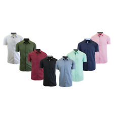 Men's Short-Sleeve Solid Button-Down Shirts
