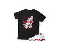 "Air Jordan XIV White/Red Inspired  ""Blessed"" Graphic Pro Club Tee Sm - 5XLT"