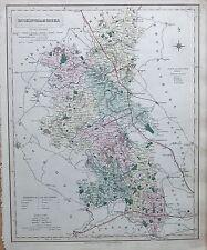 1845  LARGE ANTIQUE COUNTY MAP - RAILWAYS, BUCKINGHAMSHIRE CHESHAM AYLESBURY WIN