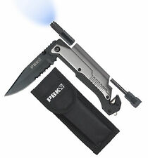 Multi Use Rescue Knife w Flashlight 5 in 1 Best Tactical Pocket Folding Knife