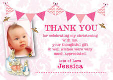 Personalised Photo Thank you card Peter Rabbit bunting Christening Girl envelope