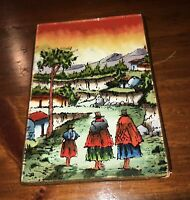 """Antique Reverse Glass Miniature Painting South American Country Scene Vtg 3""""x 5"""""""