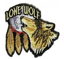 Lone Wolf Howling at the Moon Patch Embroidered Iron On Biker Skater