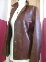 Ladies M&S PER UNA brown real leather JACKET BLAZER SHIRT size UK 14 12 hipster
