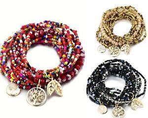 Women Girls Multi Layered Bracelet Bohemian Life of Tree Charm Crystal Seed bead