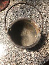 Vintage Small Cast Iron Peyote Water Drum, Bean Pot, Cowboy Kettle, Cauldron