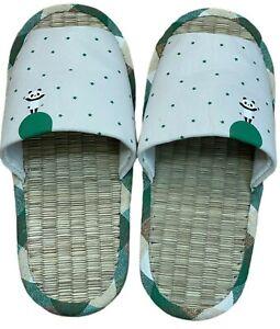 """Japanese 11"""" Long Tatami Slipper Straw Sandal Beige Green Pandas on Moon Stars"""
