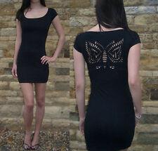 Womens Mini Little Black Dress Stretch Back Detail Short Slv  8 10 12 14 16 18