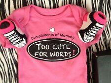 NEW GIRLS PINK NIKE AIR JORDAN INFANT BABY BOOTIES 0-6M TOO CUTE BODYSUIT 0-3M