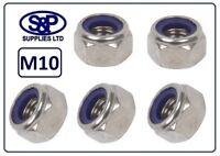 M10 (10MM / 10mm) STAINLESS STEEL HEX NYLOC NUT NYLON INSERT NUT LOCKING NUT A2
