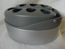 Kitchen or Bathroom UTENSIL HOLDER 7 Hole Oval shape Tilts Grey and silver