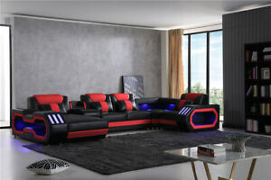 Galaxy Leather Sectional With Chaise (Black-Red Trim)