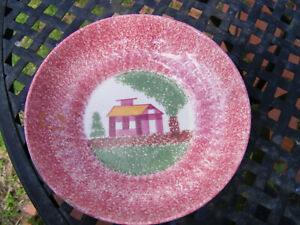 ANTIQUE RED SPATTER WARE SPONGEWARE BOWL with HOUSE
