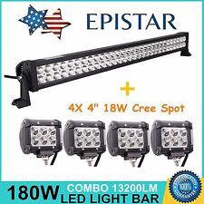 "32inch 180W Combo + 4X 4"" 18W Spot LED Work Light Bar Offroad Truck UTE SUV Lamp"