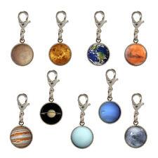 9x Planet SISTEMA SOLARE placcato argento clip per bracciale SPAZIO ASTRONOMO