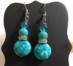 BLUE MARBLE Wire Dangle Earrings Jewelry Set - Handmade USA