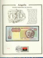 Angola Banknote 1000 Kwanzas 1991 P-129b sig 17 UNC  w/FDI UN FDI FLAG Prefix CD