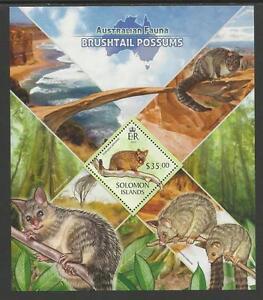 SOLOMON ISLANDS 2013 Australian Animals POSSUMS Souv Sheet Single Value MNH