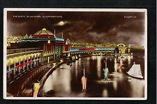 L@@K  The Bath Blackpool Illuminations 1926 ? RP Postcard ~ LOVELY COLOURS
