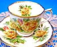 Royal Albert Tea Rose Teacup & Saucer, Yellow Rose c.1940s Tea Cup and Saucer