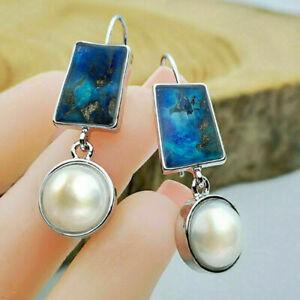 Fashion 925 Silver Dangle Earrings Women White Pearl Wedding Earrings A Pair