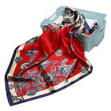"Women's Fashion Red Paisley Faux Silk Square Head Scarf Shawl for Beach 35""*35"""