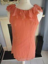 Angel Eye mini shift Dress coral flower petal neckline beads Size S/M uk 10