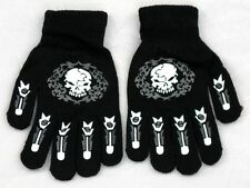 Skull Print Glow In the Dark Magic Stretchy  Winter Gloves One Size Fits Most