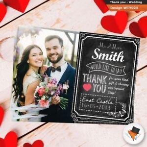 Photo Chalkboard Style WEDDING Thank You Cards Personalised 20 30 40