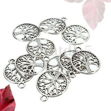 10Pcs Tibetan Silver 'Tree of Life Circle' Charms Pendants For Jewelry Findings