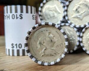 Bank Sealed Half Dollar Coin Roll w/ 90% Silver Franklin or Kennedy End Coin
