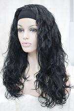 2015 fashion jet black wavy 3/4 wig with headband synthetic women's half wig