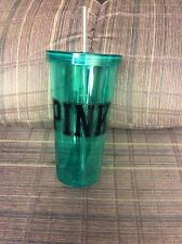 Victoria's Secret PINK 24 oz Tumbler Cup with Straw--Aqua