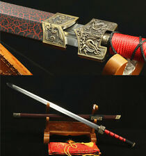 "42"" BLACK RED  SAYA 1060 CARBON STEEL HAS DRAGON SHARP CHINESE HAN SWORD 汉剑"