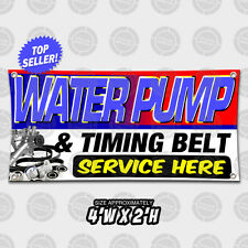 Water Pump Timing Belt Service Here Banner Auto Shop Open Sign Automotive Repair