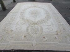 Old Hand Made French Design Wool Cream Grey Large Original Aubusson 427X297cm